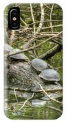 Six Turtle On A Log IPhone Case