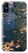 Skyscrapers' Reflections And Fallen Autumn Leaves IPhone Case