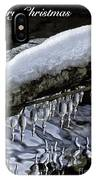Snow And Icicles Merry Christmas Card IPhone Case