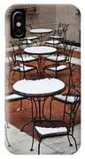 Snow Covered Patio Chairs And Tables IPhone Case