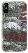 Snow On A Pine Tree With A Red Barn. IPhone Case