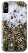 Snow On Top Of Small Saguaro Cactus IPhone Case