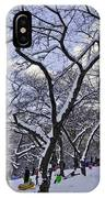 Snowboarders In Central Park IPhone Case