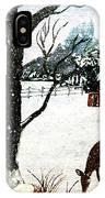 Snowfall And Visiting Doe IPhone Case