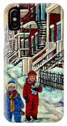 Snowy Day Rue Fabre Le Plateau Montreal Art Winter City Scenes Paintings Carole Spandau IPhone Case