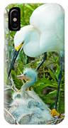 Snowy Egret Tending Young IPhone Case