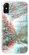 Snowy Lane - Use Red/cyan Filtered 3d Glasses IPhone Case