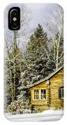 Snowy Log Home IPhone Case