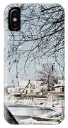 Snowy View Of Boathouserow IPhone Case