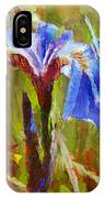 Alaskan Wild Iris And Blue Butterfly Flower Painting IPhone Case