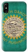 South Dakota State Flag Art On Worn Canvas IPhone Case