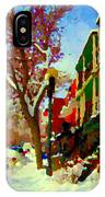 Splendor And Colors Of Quebec Winters Verdun Montreal Urban Street Scene Carole Spandau IPhone Case