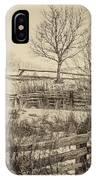 Split Rail Winter Sepia IPhone Case