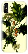 Sprig Of Holly With Berries And Flowers Vintage Poster IPhone Case
