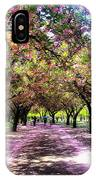 Spring Walkway Lined By Blooming Cherry Trees IPhone Case