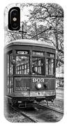 St. Charles Streetcar 2 Bw IPhone Case