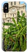 St. Louis Cathedral And Banana Trees New Orleans IPhone Case