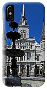 St Louis Cathedral Fountain IPhone Case