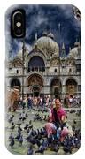 St Mark's Basilica - Feeding The Pigeons IPhone Case
