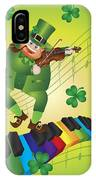 St Patricks Day Leprechaun Dancing On Piano Keyboard IPhone Case