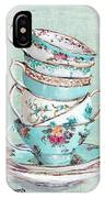 Stacked Aqua Themed Tea Cups IPhone Case