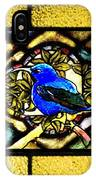 Stained Glass Template Blue Bird Of Happiness IPhone Case