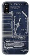 Stanton Bass Drum Patent Drawing From 1904 - Navy Blue IPhone Case