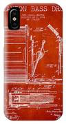 Stanton Bass Drum Patent Drawing From 1904 - Red IPhone Case