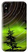 Star Trails And Northern Lights In Sky Over Taiga IPhone Case