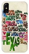 States Of United States Typographic Map - Parchment Style IPhone Case
