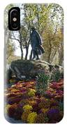Statue And Flower Bed Across The Street From The Grand Palais Off Of Champs Elysees IPhone Case