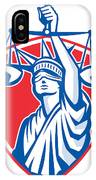 Statue Of Liberty Raising Justice Weighing Scales Retro IPhone Case