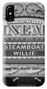 Steam Boat Willie Signage Main Street Disneyland Bw IPhone Case