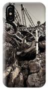Steampunk Land Boring Machine At Disneysea Black And White IPhone Case
