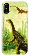 Stegosaurus And Compsognathus Dinosaurs IPhone Case