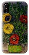 Still Life Ceramic Vase With Two Gerbera Daisy And Two Sunflowers IPhone Case