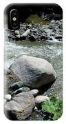 Stream Water Foams And Rushes Past Boulders IPhone Case