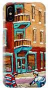 Street Hockey Practice Wilensky's Diner Montreal Winter Street Scenes Paintings Carole Spandau IPhone Case