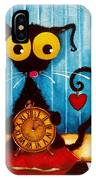 Stressie Cat And The Tick Tock IPhone Case