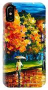 Stroll In The Night - Palette Knife Oil Painting On Canvas By Leonid Afremov IPhone Case