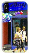 Strolling By The Blue Boy Frozen Yogurt Glacee Cafe Plateau Mont Royal City Scene Carole Spandau   IPhone Case
