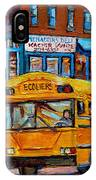 St.viateur Bagel And School Bus Montreal Urban City Scene IPhone Case