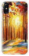 Sun Of January - Palette Knife Landscape Forest Oil Painting On Canvas By Leonid Afremov IPhone Case