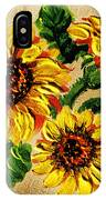Sunflowers On Wooden Board IPhone Case