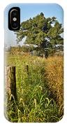 Sunlit Fence Posts In Weeds IPhone Case
