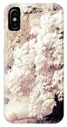 Surreal Infrared Ethereal Nature With White Flamingos - Infrared Trees And Flamingos  IPhone Case