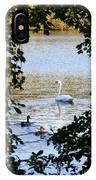 Swan And Ducks Through Trees IPhone Case