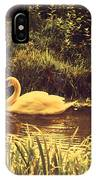 Swan At The Golden Lake IPhone Case