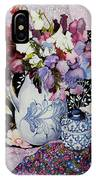 Sweet Peas In A Blue And White Jug With Blue And White Pot And Textiles  IPhone Case