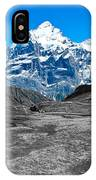 Swiss Alps - Schreckhorn And Valley In Black And White IPhone Case